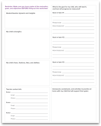 Individualized Education Plan (IEP) worksheet