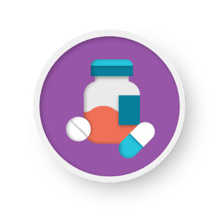 Illustration of pill bottle with two pills