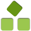 Three green squares in a triangular formation