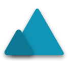 Two blue triangles side by side with differing shades